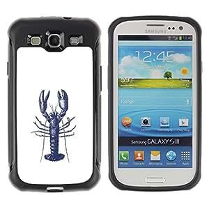 KROKK CASE Samsung Galaxy S3 I9300 - lobster ink tattoo white blue art - Funda Carcasa Bumper con Absorción de Impactos y Anti-Arañazos Espalda Slim Rugged Armor