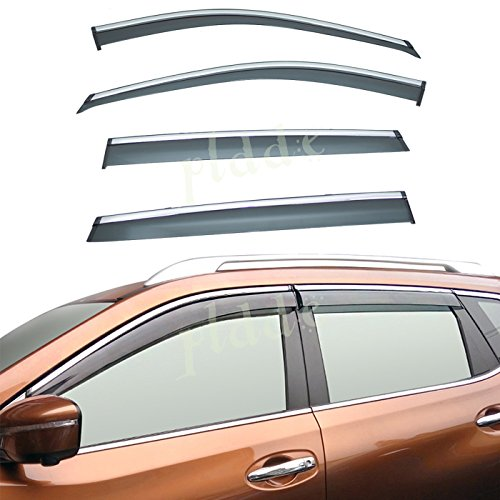 (PLDDE 4pcs Smoke Tint With Chrome Trim Outside Mount Tape On/Clip On Style PVC Sun Rain Guard Window Visors Fit 14-18 Nissan X-Trail/Rogue)