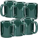 Creative Home Ceramic Coffee Mug, Tea Cup (Set of 6), 12 oz, Green