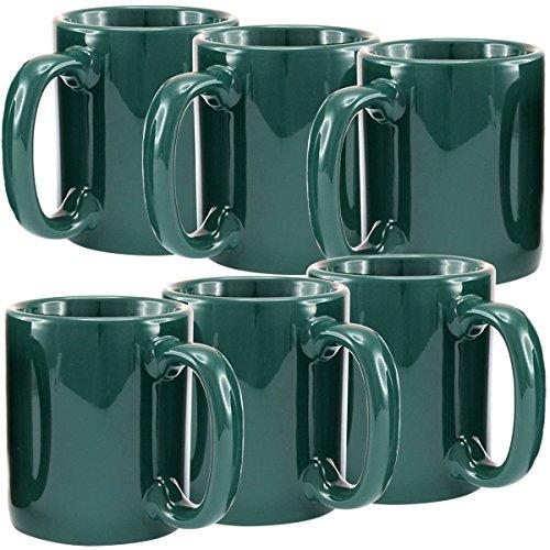 Creative Home Ceramic Coffee Mug, Tea Cup (Set of 6), 12 oz, -