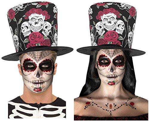 DAY OF DEAD SUGAR SKULL ROSE BLACK RED TOP HAT + TATTOOs/MAKE UP KIT ()