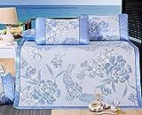 Summer Mat Foldable Ice Silk Mat Three Sets Of Non-slip Mat Summer Student Seats Dormitory Seat 1.5m.1.8m ZXCV (Color : Blue, Size : 180200cm)