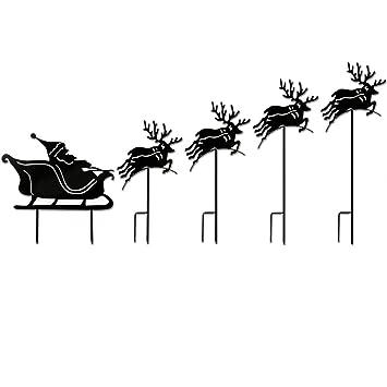 Décoration de Noel jardin avec Pere Noel et son traineau rennes ...