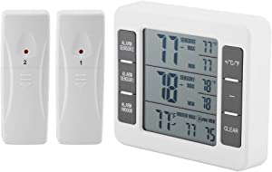 KSTE Refrigerator Thermometer-LED Wireless Digital Thermometer, Tempreture with Audible Alarm Thermometer for Freezer Kitchen Home, Outdoor