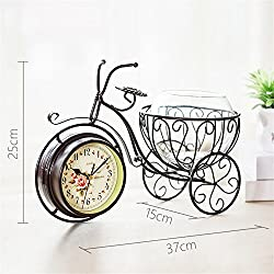 NOHOPE Creative European Pastoral Style Wrought Iron Double Clock Bicycle Flower Basket Living Room Home Decor Vase Ornaments,A