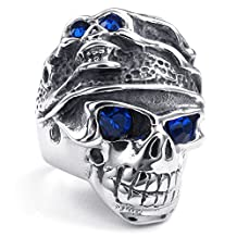 TEMEGO Jewelry Mens Stainless Steel Ring, Gothic Skull Band, Blue Silver
