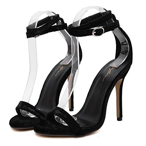 son tacones los tacones altos black Los finos populares femeninas RUGAI nuevos dedos entre y UE Sandalias los zYSSq6wHA