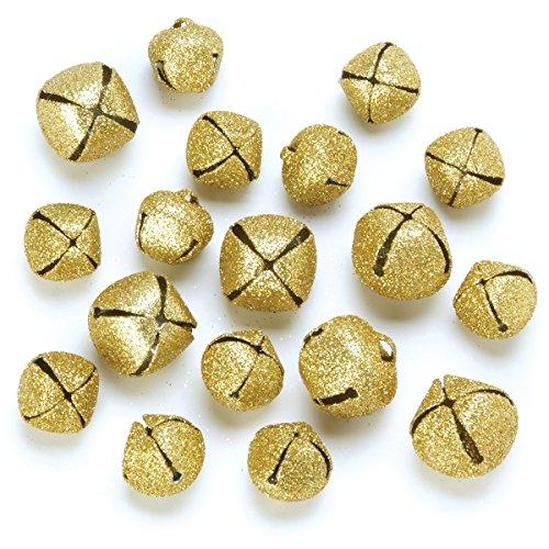 Darice Glitter Jingle Bells, Gold, 18/Pack
