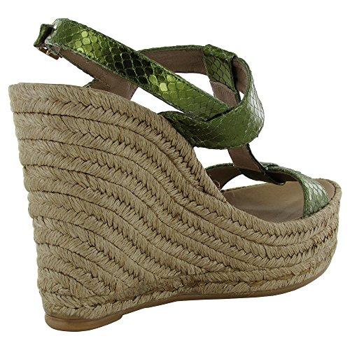Delman Femmes Trish T-strap Espadrille Wedge Chaussure Feuillage Métallique