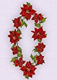 SF0091W1 10' Poinsettia Garland(Red/Gold Trim,3pcs)