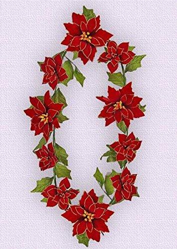 SF0091W1 10' Poinsettia Garland(Red/Gold Trim,3pcs) by Flora Bunda