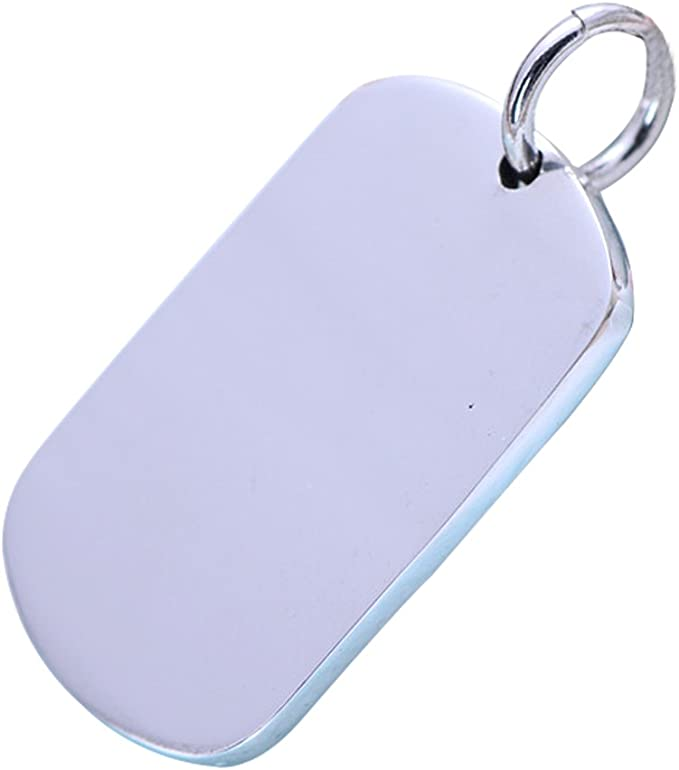 Details about  /.925 Sterling Silver Engravable Dog Tag Disc Charm Pendant