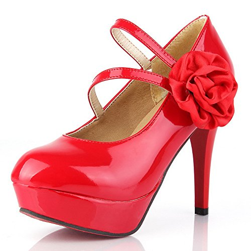 VogueZone009 Womens Closed Round Toe High Heel Patent Leather PU Solid Pumps with Flowers Red