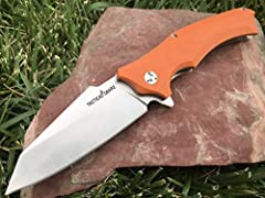 **TacticalGearz Premium custom ball bearing knife with a durable G10 handle. This knife Is Iightweight yet durable, if your looking for a knife that can handle it. Great looking knife that will definitely impress and not disappoint. The smoot...