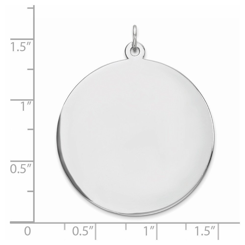 Rnd Polish Front 925 Sterling Silver Rhodium Plateded Eng Satin Back Disc Charm
