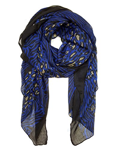 Blue Leopard Print (Leopard Creation Shawl Scarf (Leo Zebra Blue))