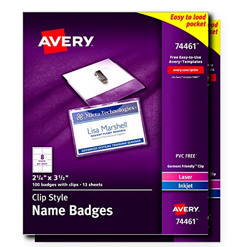 Avery Garment-Friendly Clip Style Name Badge Holders, with Inserts,  100 Badges per Pack, 2 Packs (template 74461)