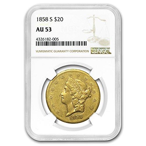 1858 S $20 Liberty Gold Double Eagle AU-53 NGC G$20 AU-53 NGC