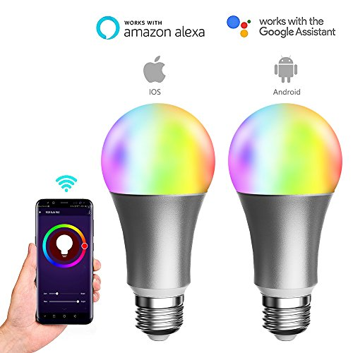 Cheap LUAIDA 2 pcs Smart WiFi LED Light Bulb Compatible with Alexa Or Google Home, No Hub Required, 8W White & Colorful LED Bulb, 16,000,000 Colors Adjustable with Your Smart Phone (Silver 2 Pack)