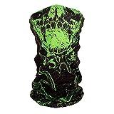 ZANheadgear Motley Tube, 100% Polyester, Green Torn Skull