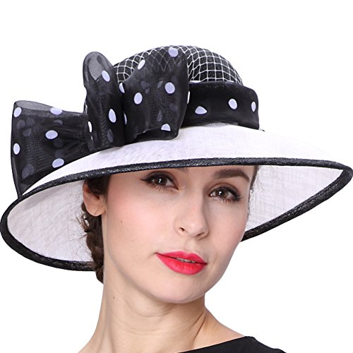 (Koola's hats Lady White Black 3 Layers Sinamay Wedding Hats Sun Hat Ascot Race Derby Hat)