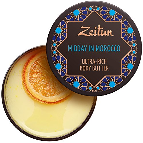 Zeitun Rich Body Butter - Midday In Morocco - Skin Firming, Lifting And Aromatherapy - With Shea Butter, Argan And Jojoba Oil, Orange And Mandarin Essential Oils, 6.7 oz