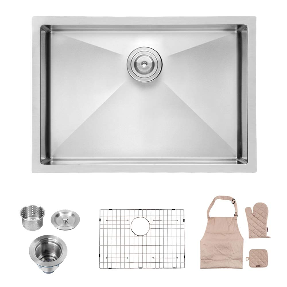 Lordear 26 Inch Undermount Deep Single Bowl 16 Gauge R10 Tight Radius Stainless Steel Kitchen Sink