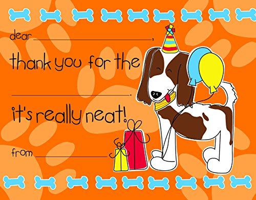 Cute Dog Treat Kids Fill-in Birthday Thank You Cards