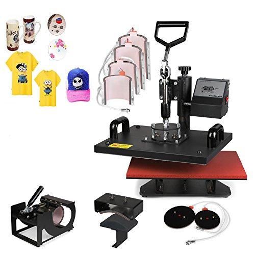 Mophorn Heat Press 9 in 1 12 x 15 Heat Press Machine Swing-Away Design Heat Press Machine for T Shirts DIY Cup Mug Digital Display (9pcs)