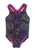 Speedo Big Girls' Youth Solid Splice Cross-Back One-Piece Swimsuit (Multicolor, 10)