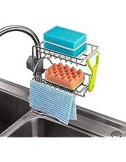 SKEIDO Stainless Steel Kitchen Faucet Sponge Holder, Shower Caddy Soap Dish Sink Organizer for Bathroom or Kitchen