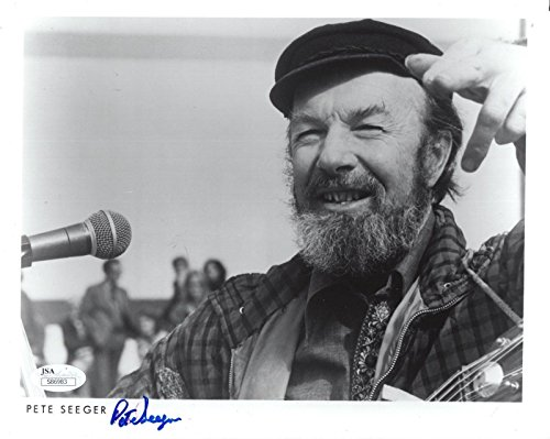 PETE SEEGER HAND SIGNED 8x10 PHOTO BEST POSE EVER FOLK MUSIC LEGEND - JSA Certified from Hollywood Memorabilia
