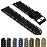 StrapsCo Quick Release Vintage Top Grain Leather Watch Band Strap with Matte Black Buckle Made in Spain 16mm 18mm 20mm 22mm 24mm 26mm