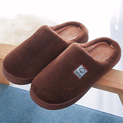 Coppie fankou home cotone pantofole indoor anti-slittamento dello spessore di soggiorno incantevole pantofole caldo inverno ,43-44, caffè tra uomini e donne.