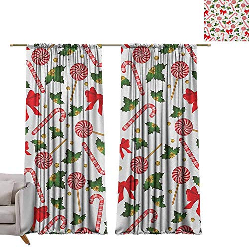 Curtain Panels Candy Cane,Holly Berry Mistletoe Traditional Red and White Patterned Sugary Food on Sticks, Multicolor W84 x L96 Grommet Curtain for Bedroom
