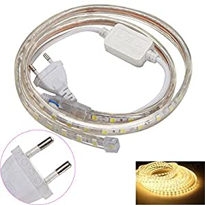 18W 240LM 1M 5050 SMD 60-LED 3500K Warm White Light Flexible Crystal Gel LED Light Strip Lamp w/ EU Plug (220V)