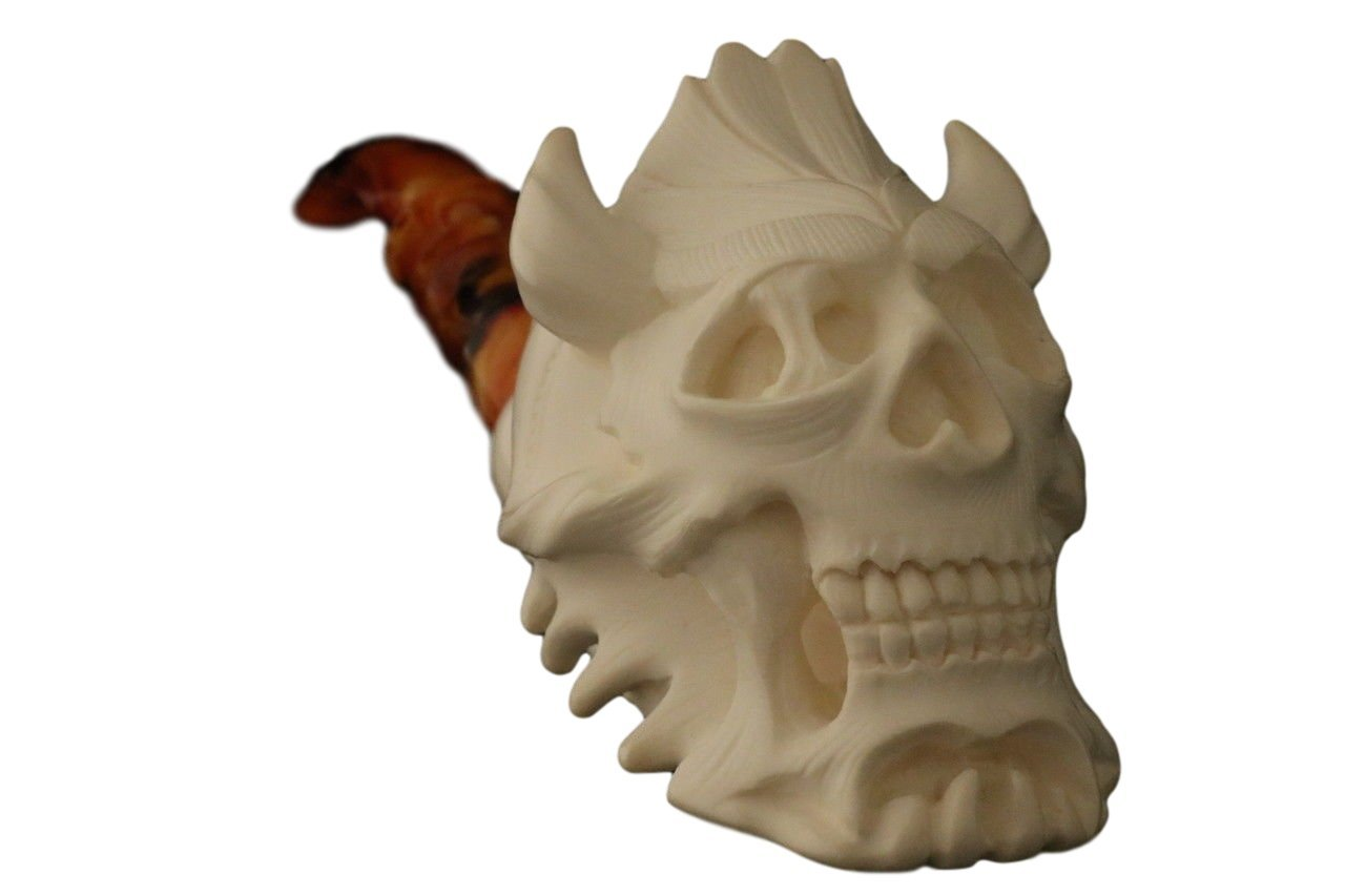 Meerschaum Pipe - Devil Skull from Master Carver I. Baglan - Tobacco Smoking Pipe Hand Made from the Finest Block Meerschaum - New
