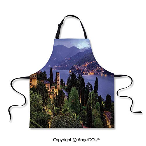 SCOXIXI Adult Kitchen Dinner Party Cooking Apron Lago Di Camo Lake Famous Coastal Village with Aerial View Picturesque Panorama Decorative for Cooking Baking Gardening.
