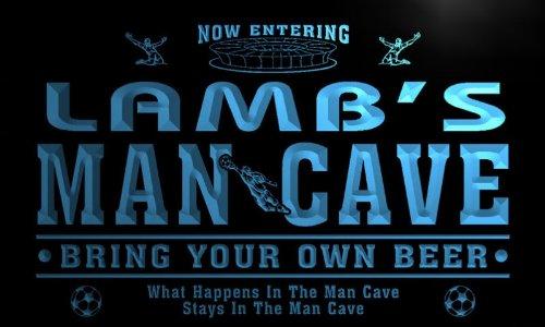 qd1477-b LAMB's Man Cave Soccer Football Bar Neon Beer Sign by AdvPro Name