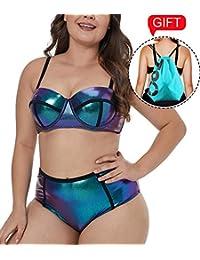 9a544e828b 2019 Women s Plus Size Swimsuit High Waisted Split Ruffles Push up Halter Bikini  Set