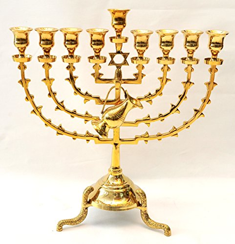 Menorah ( Hanukiah ) Gold Plated From Holy Land Jerusalem H/38 x W/35 CM by Jerusalem Menorah