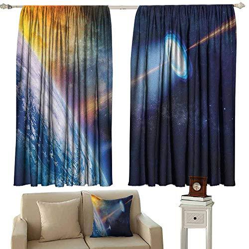 zojihouse Outer Space Blackout Curtains Privacy Vibrant UFO on Earth Secret Experiment Climate Change Terrestrial Fiction W63xL63 Blue Orange