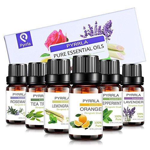 Essential Oils set Gift 6/10ml, Aromatherapy essential oil Basic Sampler Gift Set & Kit (Orange,Lavender,Tea Tree,Peppermint,Lemongrass,Rosemary)