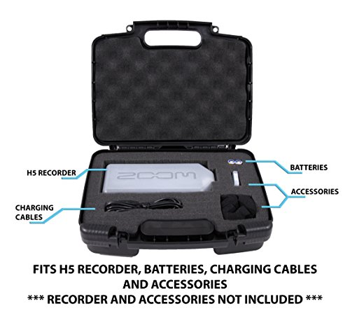 CASEMATIX Portable Recorder Carrying Travel Hard Case w/ Dense Foam fits ZOOM H1 , H2N , H5 , H4N , H6 , F8 , Q8 Handy Music Recorders , Charger , Mic Tripod Adapter and Accessories