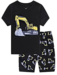 Family Feeling Excavator Little Boys' Shorts Pajamas Set 100% Cotton Clothes