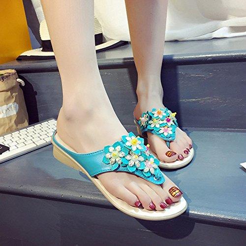 FEI Chanclas Zapatillas Mujer / Sandalias de Verano de Primavera / Comfort PU Zapatillas de Tacón Bajo Blanco Azul Amarillo Antidérapant ( Color : Amarillo , Tamaño : EU38/UK5.5/CN38 ) Azul