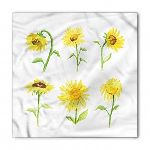 (Lunarable Unisex Bandana, Sunflower Drooping Petals Aquarelle, Mustard Green)