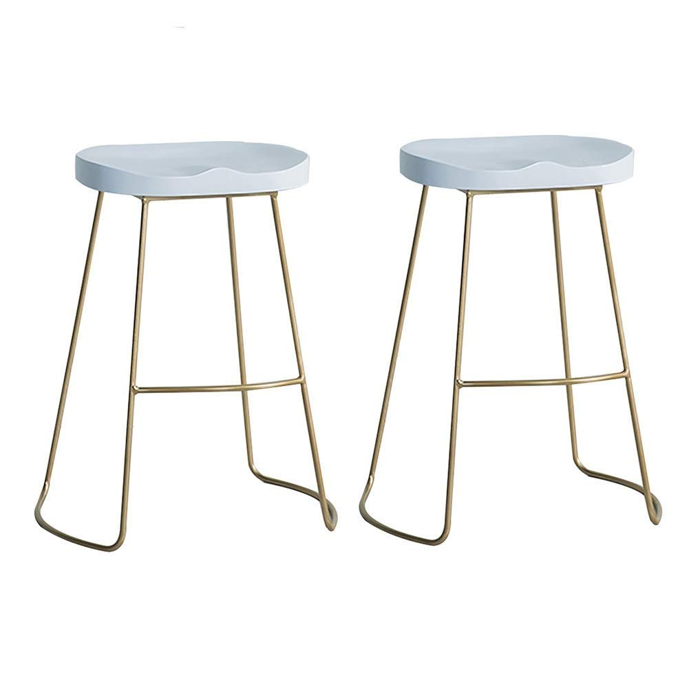 White×2 75cm Bar Stool, Bar Chair, Counter Chair, Restaurant High Stools, Iron Leisure Stool, Solid Wood Panel Steel Bracket 55 65 75cm Suitable for 85-110cm Bar JINRONG (color   White, Size   55CM)