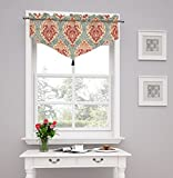 Traditions by Waverly Dressed up Damask Ascot Valance, Poppy
