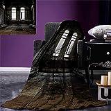 Anniutwo Industrial Warm Microfiber All Season Blanket Vintage Style Grunge Floor Walls Windows Messy Aged Wrecked Workshop Print Image Blanket 62''x60'' White Dark Brown